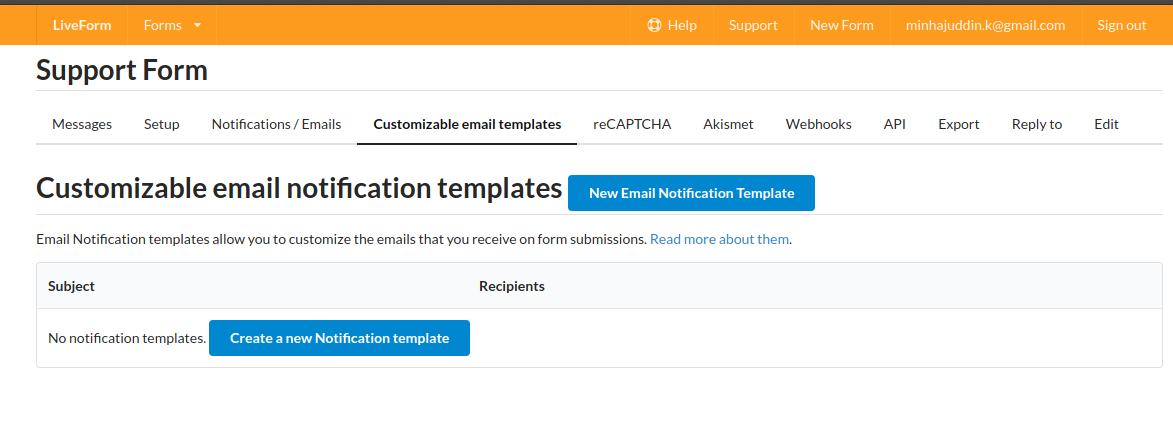 Customizable email templates tab